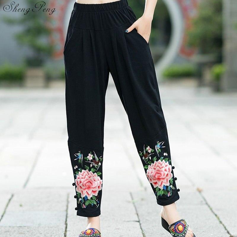 Printemps 2019 nouveau lâche grande taille brodé loisirs pantalon femme large jambe femmes pantalon décontracté chinois Harlan pantalon V1357