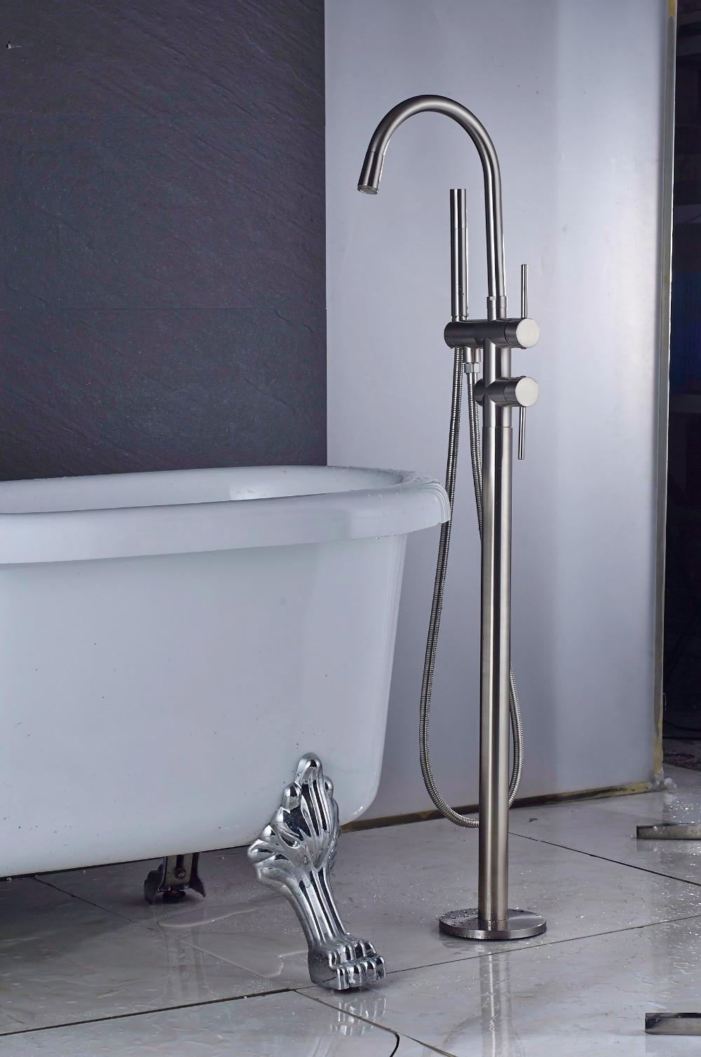Quyanre Black Nickel Chrome Bathtub Shower Faucet Two Way Floor ...