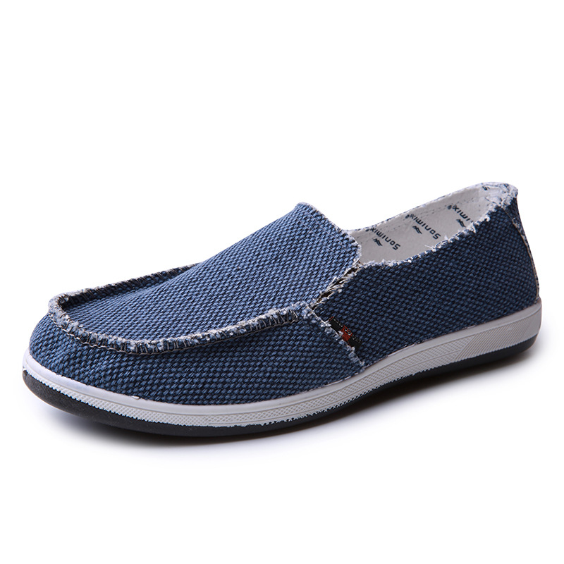Canvas Snekers Men Casual Shoes Luxury Brand 2019 Men Loafers Moccasins Breathable Slip on Black Driving Shoes in Men 39 s Casual Shoes from Shoes