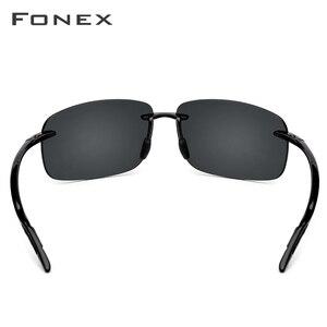 Image 4 - FONEX Ultem TR90 Rimless Sunglasses Men Ultralight High Quality Square Frameless Sun Glasses for Women Nylon Lens 1607