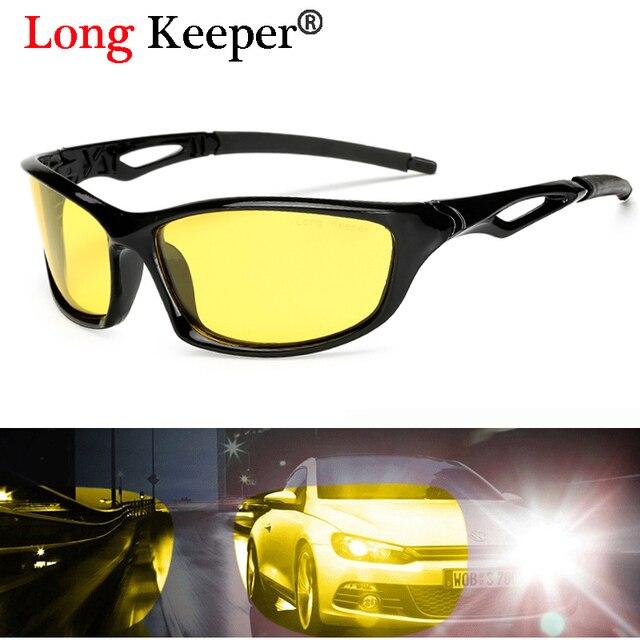 0471d2eed0d72 Longo Goleiro Marca Mens Óculos Polarizados Noite Amarelo Visão óculos de Sol  Óculos Com