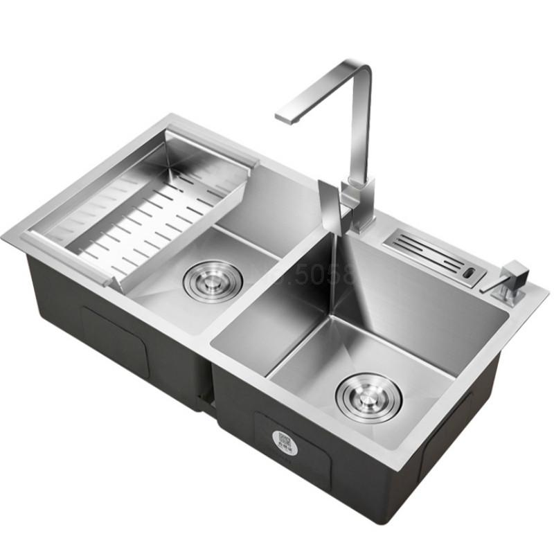 kitchen sink stainless steel double bowl above counter or sinks vegetable washing basin 1.2mm thickness sinks kitchen