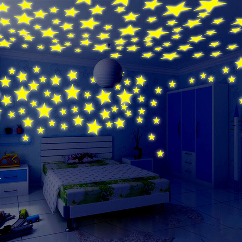 100pc Kids Baby Bedroom DIY Wall Sticker Star Fluorescent Glow In The Dark Stars Wall Stickers Home Decor Luminous Stars Wall De(China)