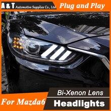 Car Styling 2014-2015 Mazda 6 LED Headlight Projector Mazda6 Headlights LED Head Lamp H7 Hid Option Angel Eye Bi Xenon Beam