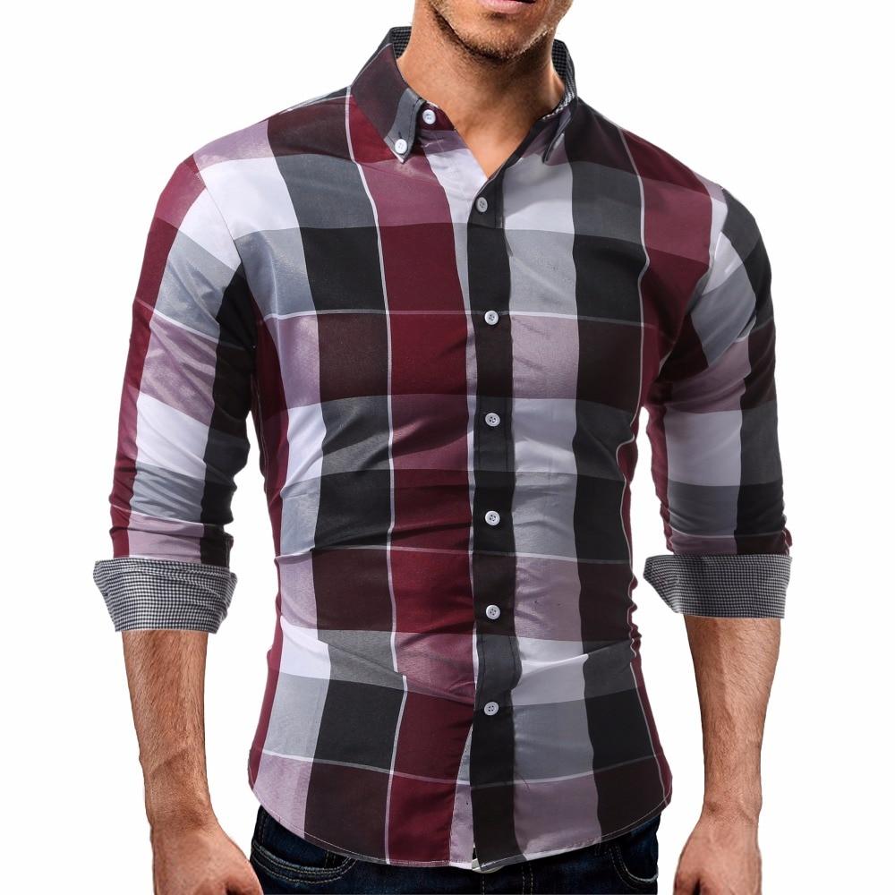 2017 Nuevos hombres de la Llegada camisa A Cuadros de