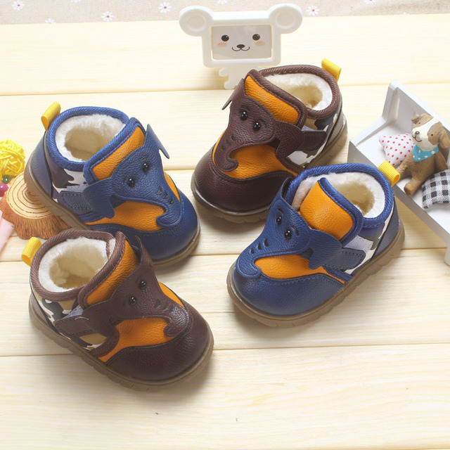 2016 Winter children shoes baby shoes cute cartoon lovely boys shoes comfortable soft sole cotton kids shoes