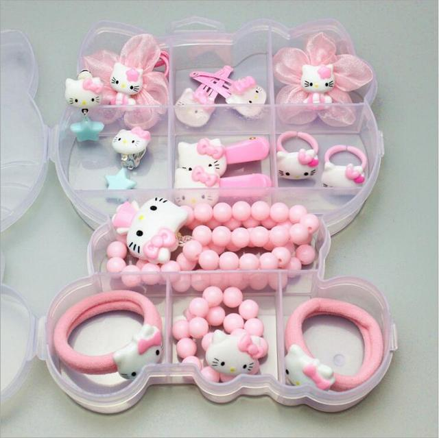 80528b72f 1 Gift Set Hello Kitty Hairpin Accessories For Baby Girls Kids Children  Hair Clips Barrette Rubber