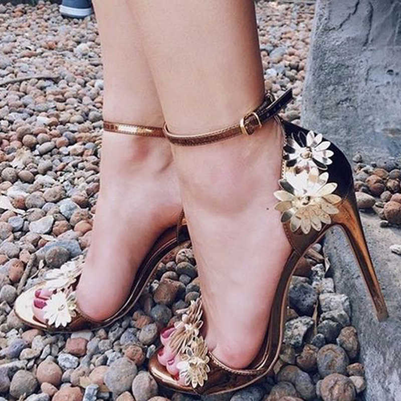Teahoo verano Flor de Oro mujeres zapatos de boda sandalias de gladiador de  Punta abierta mujeres 53066b121775