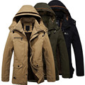 Plus Size 4XL Winter Jacket and Coats Men Casual Solid Thick Warm Cotton Jacket Male Outerwear Zipper Long Section Coat Parkas