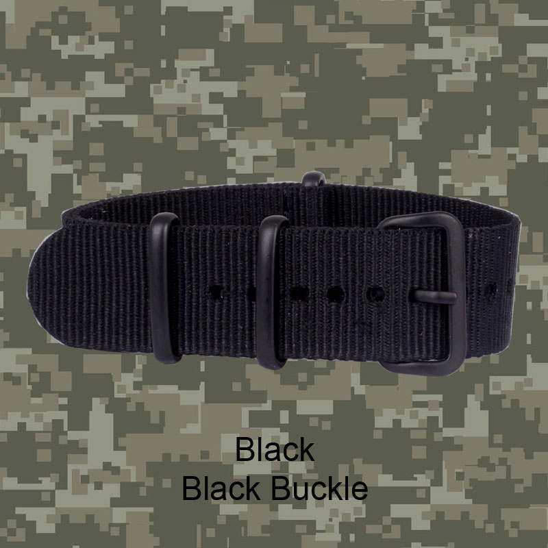 Buy 2 Get 10% OFF) Stripe Cambo Solid Black Buckle Watch 20 mm Army Military nato fabric Nylon watchbands Strap Bands belt 20mm