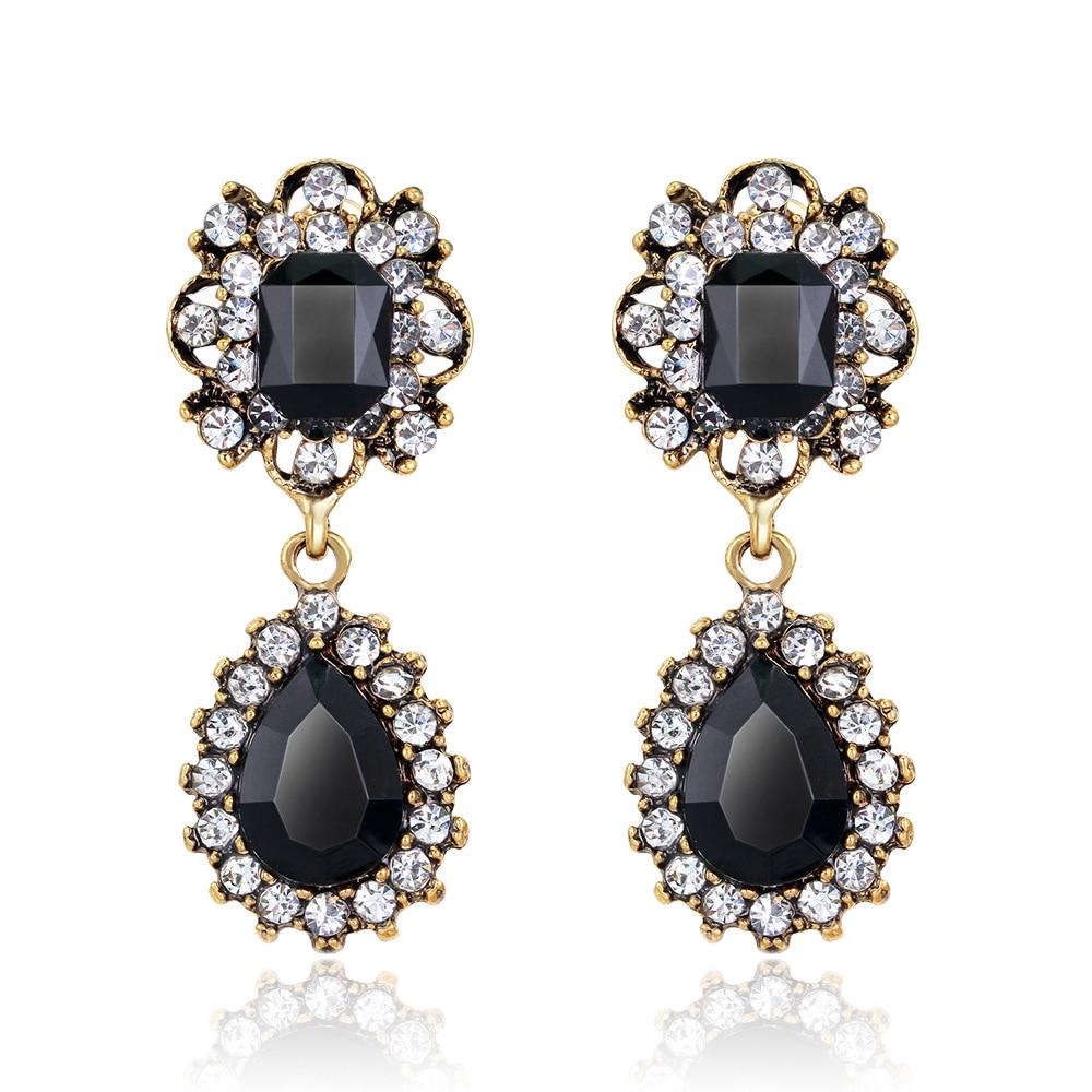 Costume Brincos Dangle Earrings For Women Vintage Design Antique Platinum  Plated Black Alloy Blimitation Drop Earrings