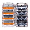 4 unids/lote Cuchillas de Afeitar Las Hojas de afeitar para Hombres 5 Hoja gilett Portátil de Alta Calidad cuchillas de afeitar de energía de fusión