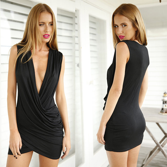 2015 sexy women dress deep V plunge bandage beach sleeveless wedding party office work mini dresses ladies - THE FASHION TIME store