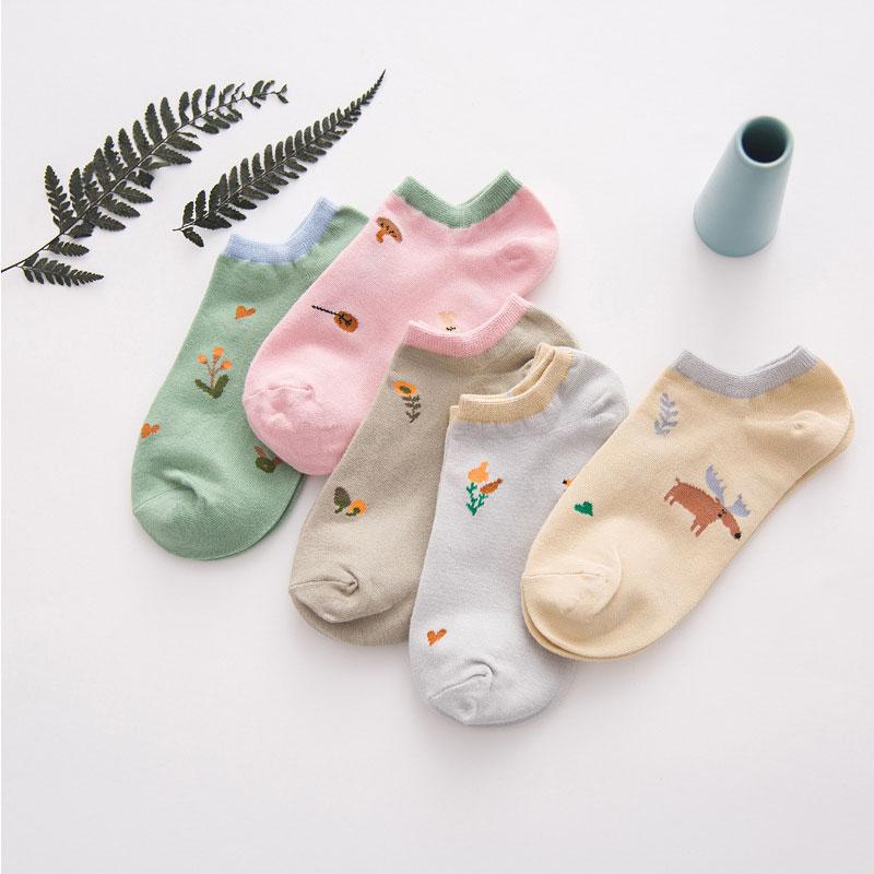 1Pair New 5 Colors Cute Women Girls Print   Socks   Cotton Candy Colors Low Invisible Short   Socks   All Season Wear Girls Boys Hosier