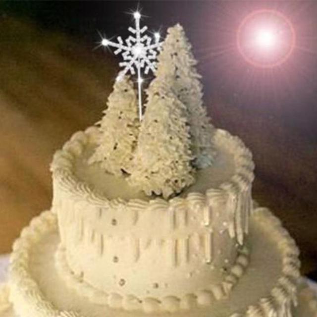 1pc Crystal Cake Topper with Rhinestone Snowflake Shape Design ...
