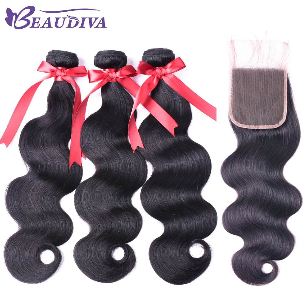 BEAUDIVA Hair Human Hair Bundles With Closure 3PCS Peruvian Body Wave Bundles With Lace  ...
