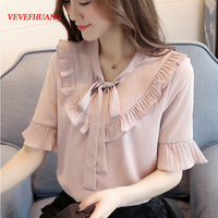 Korean Fashion summer women short sleeve chiffon blouses bowknot ruffles ladies solid color butterfly sleeve top shirts white