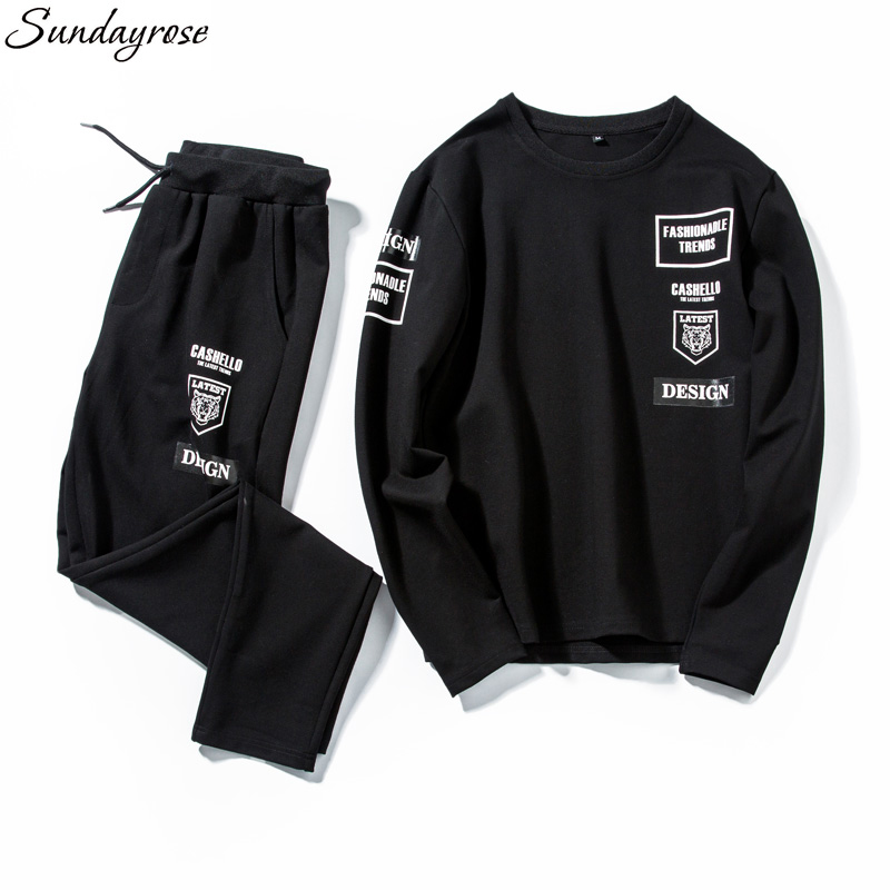 Brand 2 Pieces Men's Sport Suit Gym Fitness Pullovers + Drawstring Pants Letter Print Elastic Jogging Running Sets For Young Men