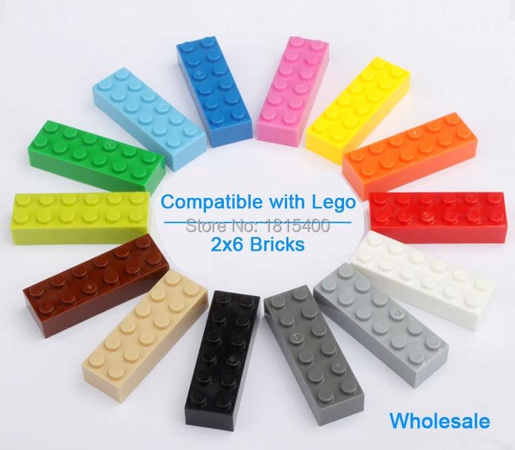 Enfants assembler des jouets bricolage legos briques compatibles pièces 2X6 blocs de construction en plastique jouets d'apprentissage compatibles avec Lego 50 pièces/lot (lot de 50)