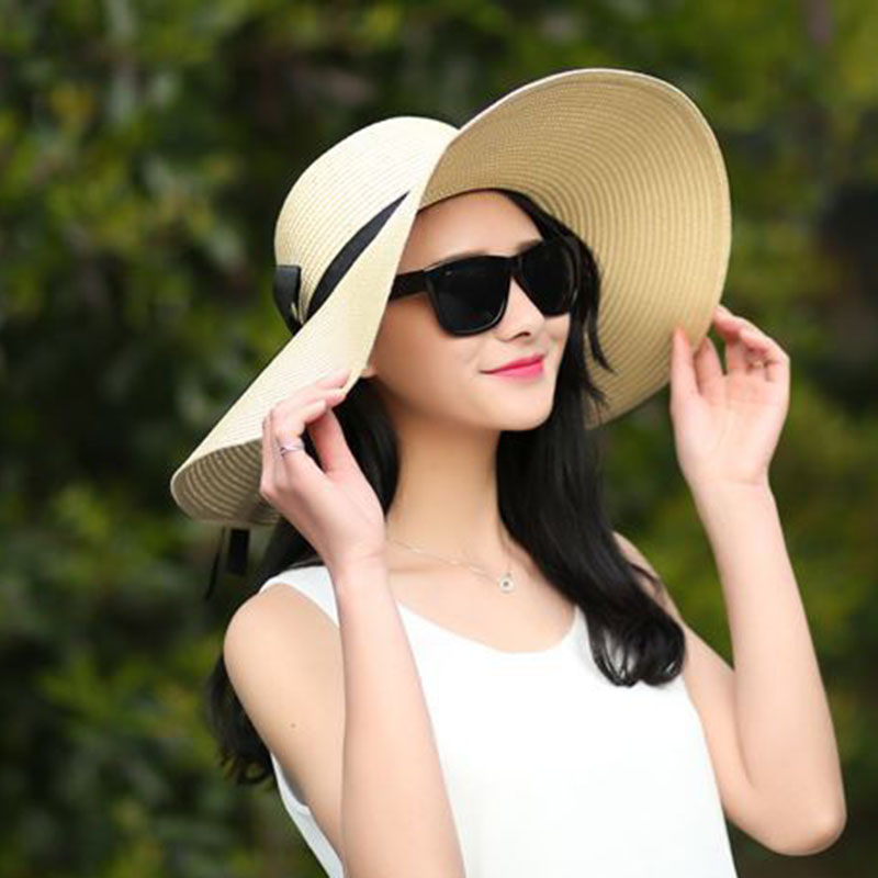1 Pcs Women Lady Straw Hat Sunhat Wide Brim Breathable for Outdoor Beach Summer -MX8