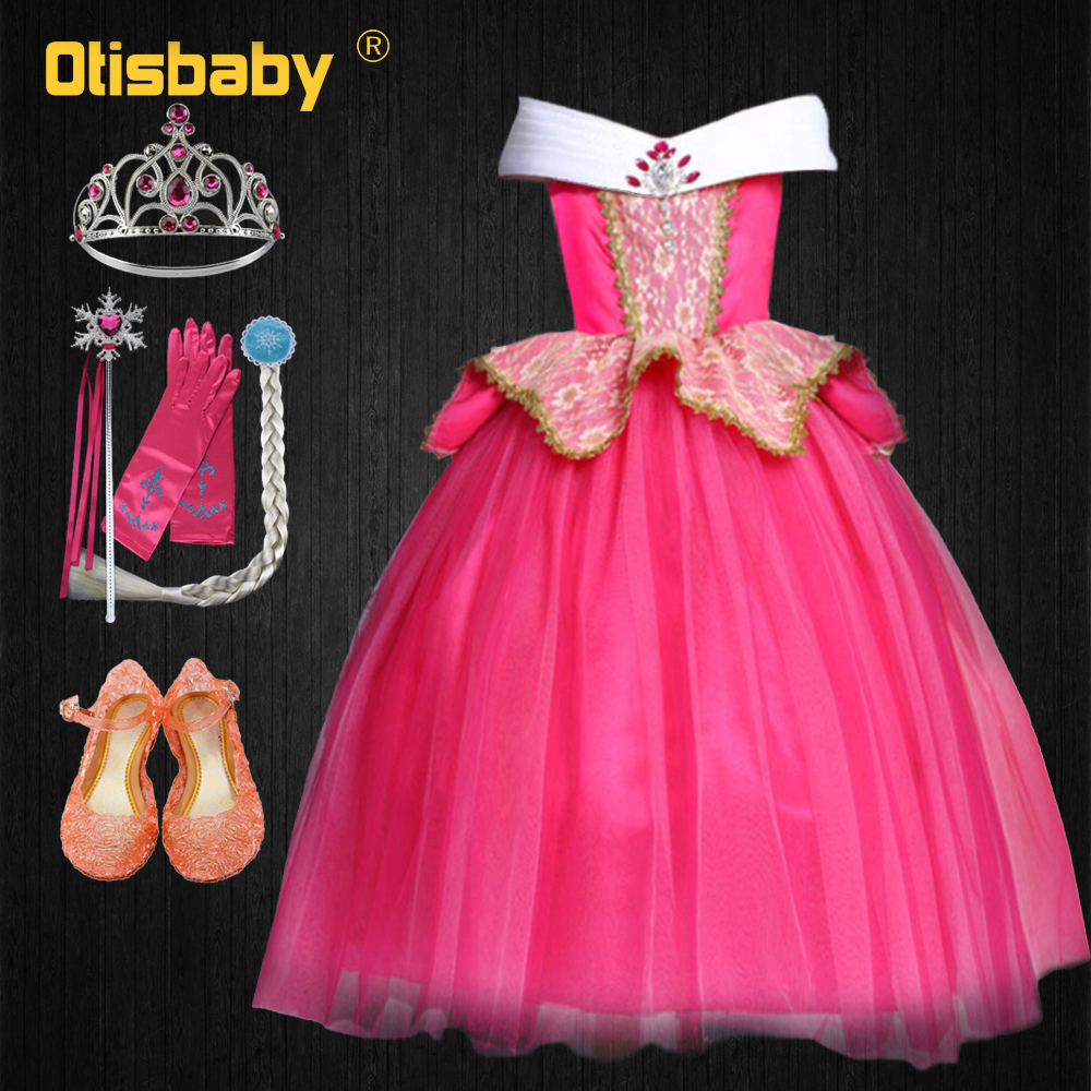 Fairy Aurora Princess Dress Flower Girl Dresses Kids Sleeping Beauty Carnival Costume Teenagers Rapunzel Pageant Prom Ball Gown