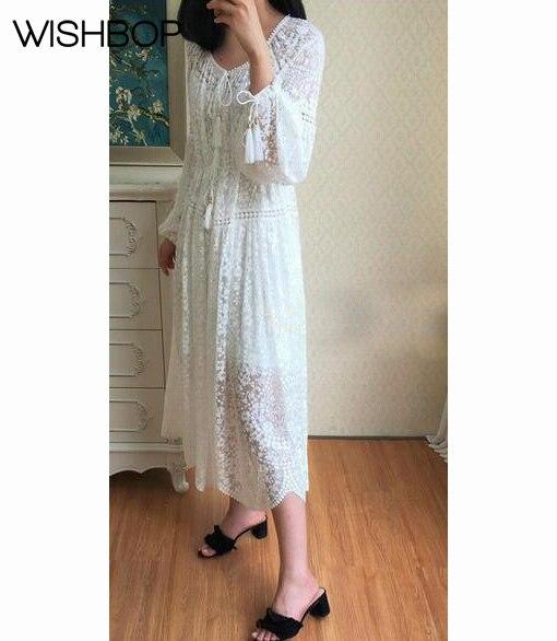 bb15521387 2018-NOUVELLE-Femme-De-Mode-Piste-Blanc-Soie-Gossamer-p-toncles-Midi-robe -Dentelle-Broderie-V.jpg