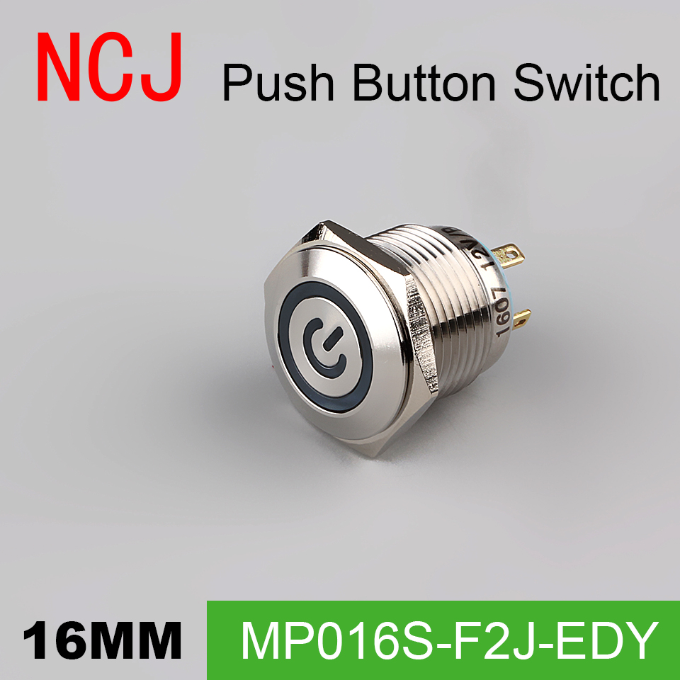 NCJ 16mm Metal Push Button Switch IP67 Momentary with led lamp stainless steel power head 3A in Switches from Lights Lighting