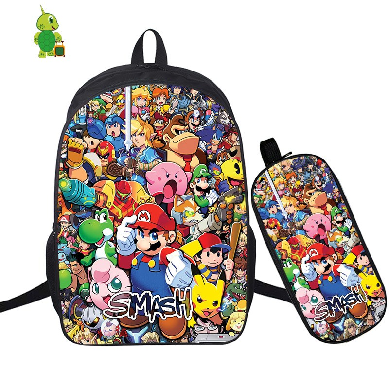 Mochila Super Smash рюкзак Bros 2 шт./компл. школьные рюкзаки для подростков мальчиков пенал для мальчика ноутбук рюкзак дорожный рюкзак