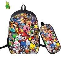 Mochila Super Smash Bros Backpack 2 Pcs/Set School Bookbags for Teenage Boys Girls Pencil Case Laptop Backpack Travel Rucksack