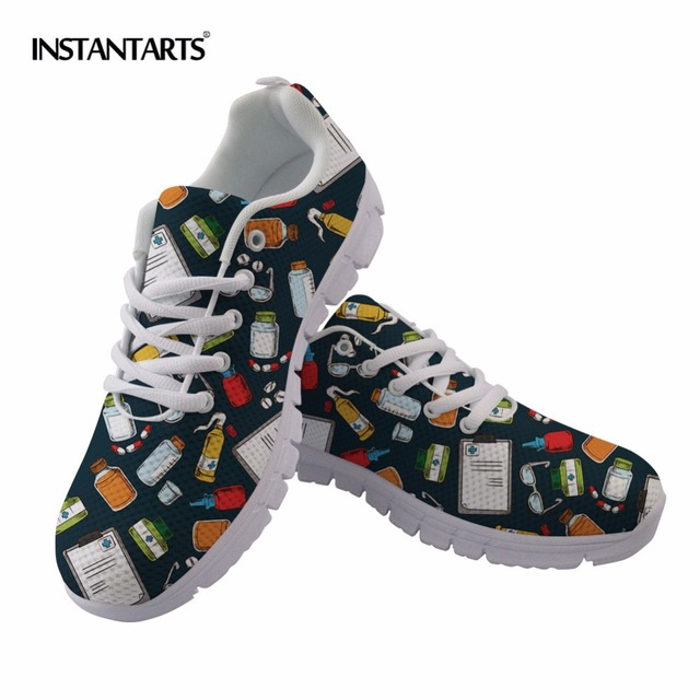 b4574ae1bb396 INSTANTARTS 2018 Women Running Shoes Pharmacy Pharmacist Printing Sneakers  Woman Sports Light Shoes Health Female Walking Shoes