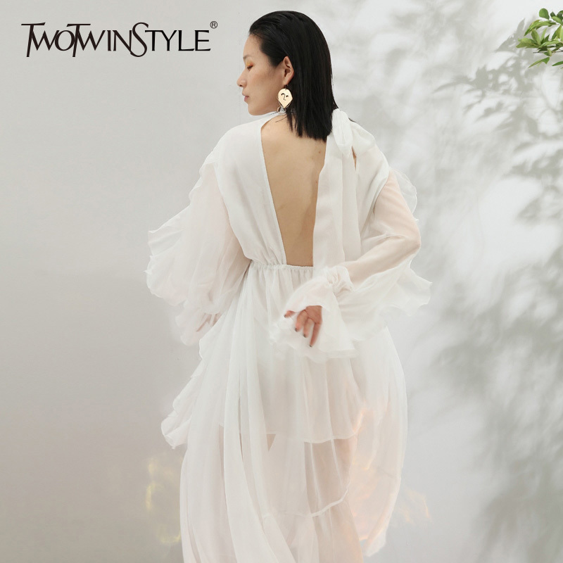 TWOTWINSTYLE Ruffles Asymmetric Hem Dresses For Women V Neck Butterfly Sleeve Backless Bow Lace Up Long