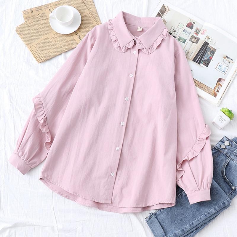 Autumn Women White   Blouses   Long Sleeve   Shirt   Women Camisas Femininas Female Tops Fashion Cotton   Shirt   Tops For Girls