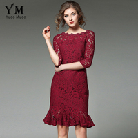 YuooMuoo New Brand Fashion Women Elegant Work Dress Slash Neck Ruffles Design OL Office Dress Luxury