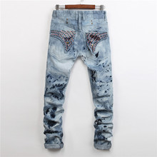 2016 New Mens Straight Robin Style Designers Jeans Male Fashion Slim Hot Nail Snowflake Jeans For Men High Quality Denim Pants