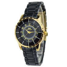 SNOWTIGER Luxury Brand Women's Wrist Watches Gold Plated Stainless Steel Ladies Quartz-Watch black