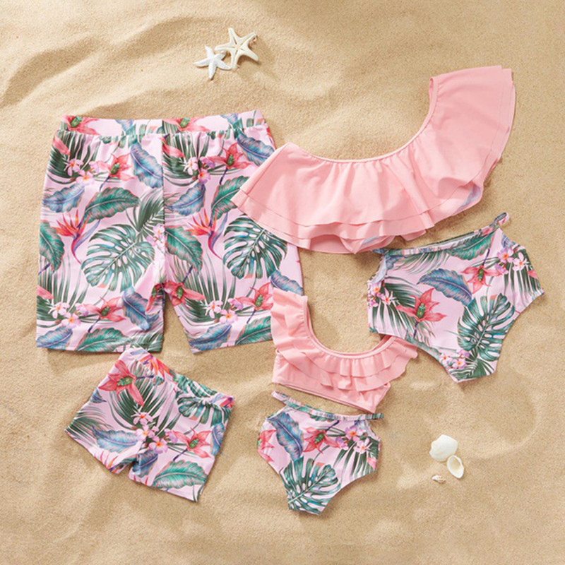 Mother Daughter Swimsuit Family Matching Swimwear Mom And Daughter Bathing Suit Mommy And Me Bikini Clothes Ruffle Father Son