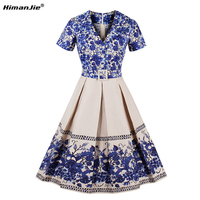 HimanJie Autumn 2017 Women Vintage Dress Slim Orchid Simple Elegant Printing Vestido Plus Size Zipper Classic