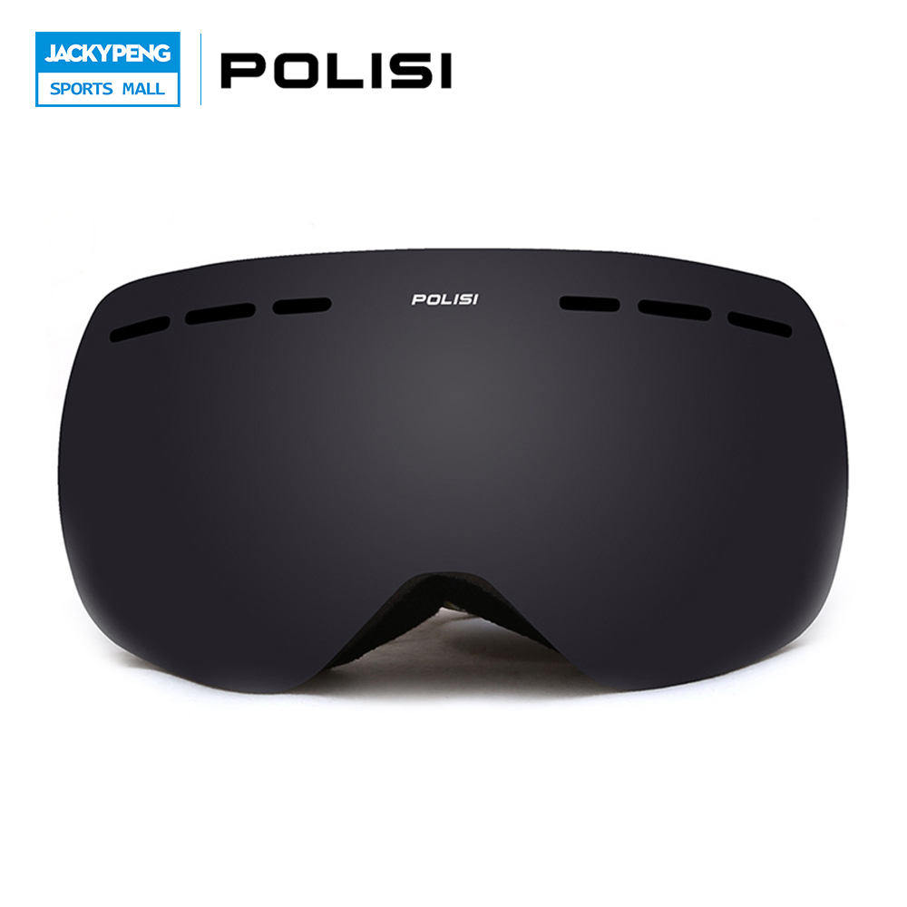 POLISI Children Kids Double Layer Anti-Fog Gray Lens Snow Skiing Goggles UV Protection Anti-Fog Ski Glasses Snowboard Eyewear polisi professional snow skiing eyewear ski goggles uv protection double layer anti fog lens winter snowboard glasses blue lens