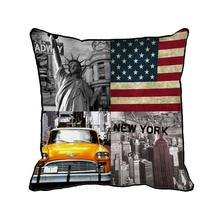 Bandera americana de New York city impreso personalizado gris Euro retro vintage throw pillow case cojín decorativo casero