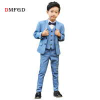 New 5pcs Kids Suit Plaid Blazers Boys Suits Sets Children Dress England Style Student Formal Clothing