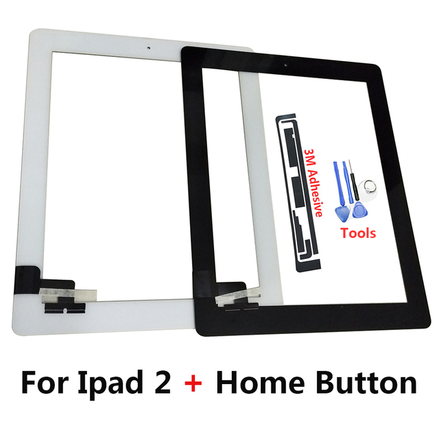 Pantalla táctil para tableta Ygctfnp para Ipad 2 Panel de cristal digitalizador iPad2 de 9,7 pulgadas con botón de inicio y Marco medio + herramientas regalo