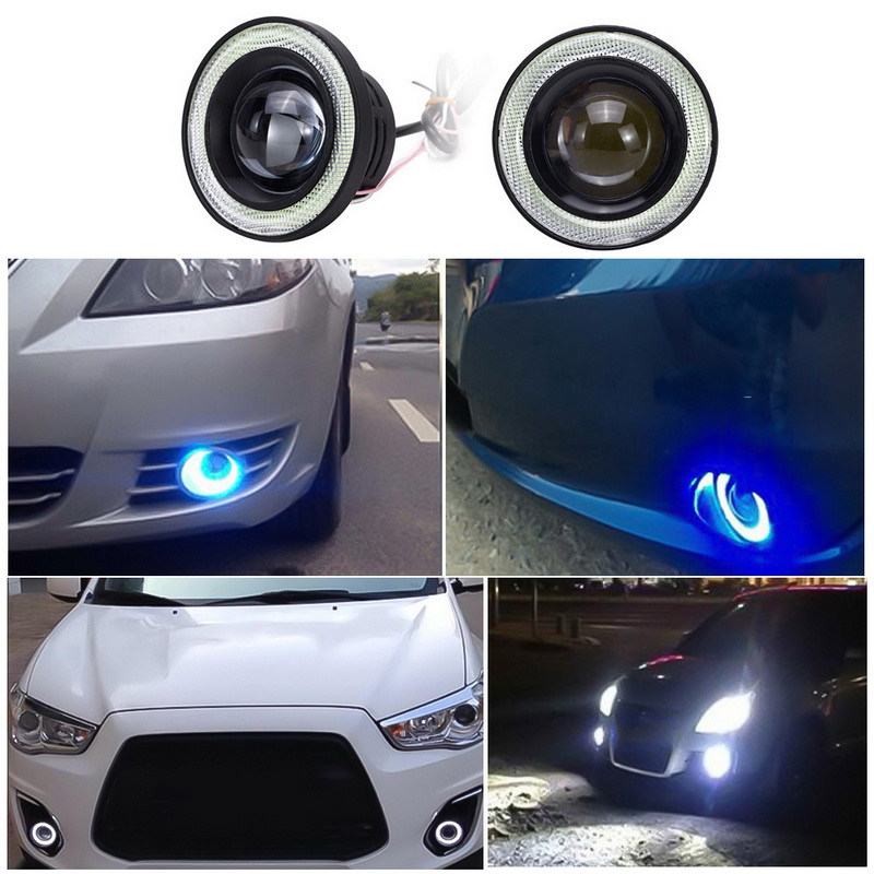 3in Car Angel Eye COB Blue//White Halo Ring LED Fog Driving Light DRL Hawkeye