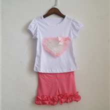 hot pink ruffles short capris and ruched sleeve icing tee style shirt girls summer kid outfits