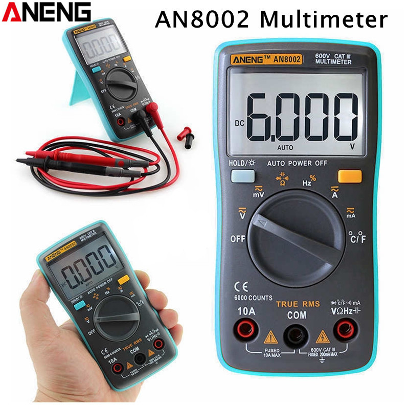 ANENG AN8002 LCD Digital Multimeter True RMS 6000 Counts Backlight AC/DC Ammeter Voltmeter Ohm Portable Meter цена 2017