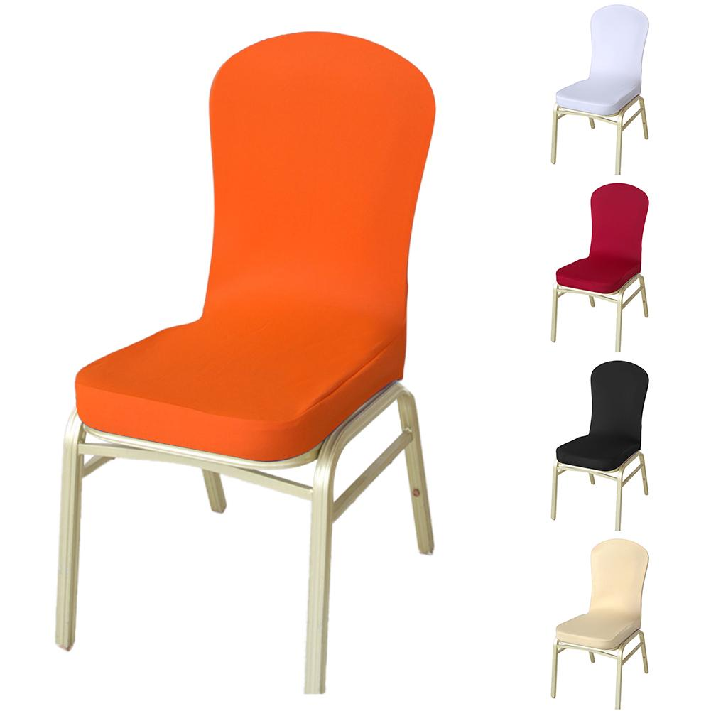 Stretch Dining Chair Cover Elastic Slipcovers Solid Color Restaurant Seat Cover for Wedding Hotel Banquet Chair Protector