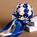 High Quality Wedding Bouquet in Royal Blue Ivory Color Bridal Bridesmaids Bouquet Artificial Silk Rose Flowers Home Accessories