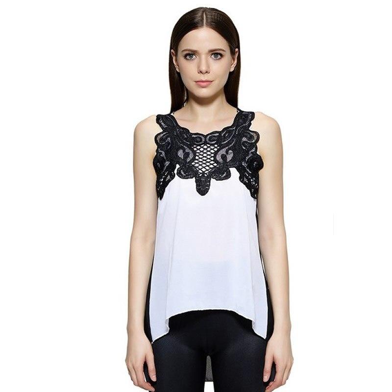 Branco e preto chiffon bluse lace crochet tops frente curto longo voltar camisas desigual mulheres damen moda feminina blusas feminina