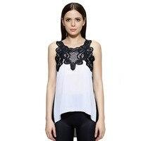 white and black chiffon bluse lace crochet tops short front long back shirts women damen ladies fashion blusas feminine
