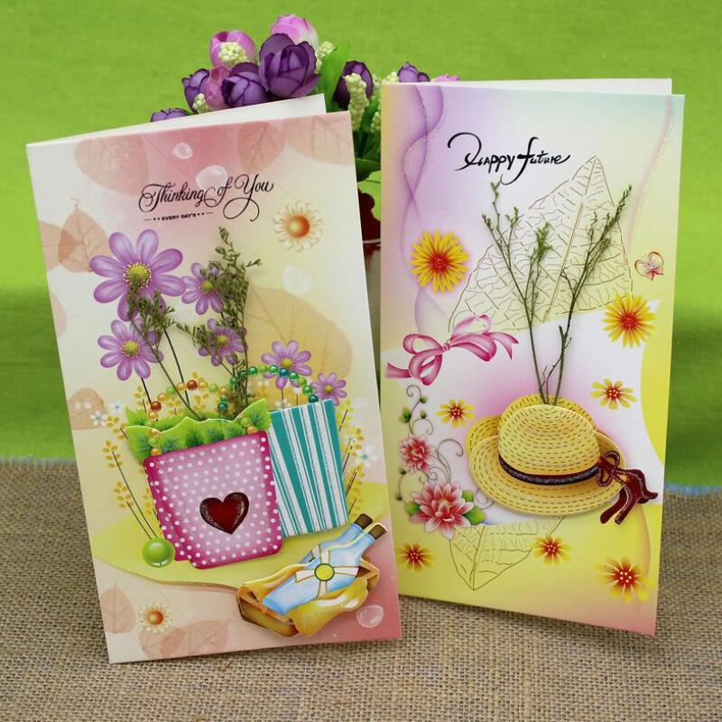 Handicraft 3D Printing and Dried Flowers Greeting Cards Birthday Valentine Day Gift Mother Day Christmas Bless Card 8pcs/set 1 set of hollow valentine s day greeting card kraft paper card holiday cards birthday cards blessing