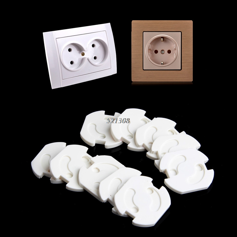 10pcs EU Power Socket Electrical Outlet Baby Kids Child Safety Guard Protection Anti Electric Shock Plugs Protector Rotate Cover image